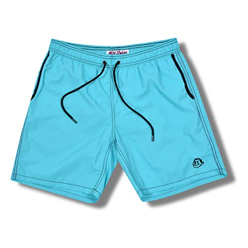 Mr. Swim Men's Swim Trunks with Mesh Lining - Swimsuit & Swimshorts - Quick Dry Swimming Bathing Suit with Pockets - Solid Artic Blue/Black, Medium