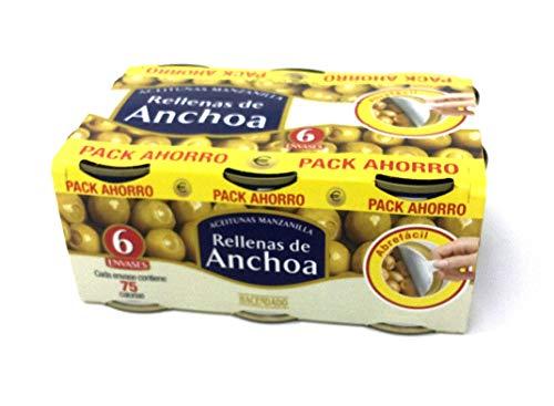 Oliven Manzanilla gefüllt mit Sardellen 6x120g-Spanische Manzanilla-Oliven gefüllt mit Sardellencreme-Aperetiv-Snack-Spanien