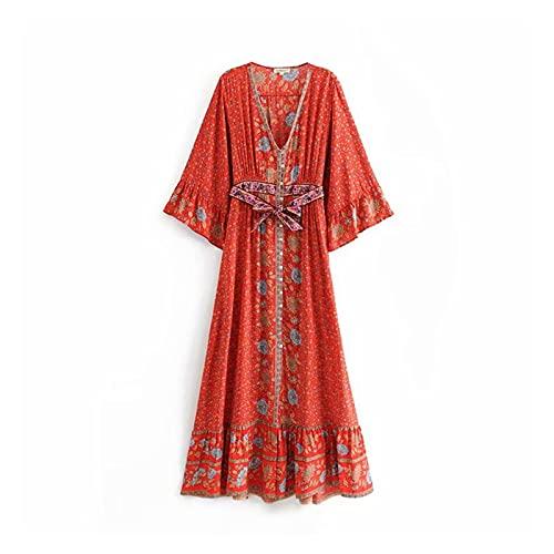 chushi Vestidos de Mujer Impresión Floral Vestido Maxi Cuello En V 3/4...