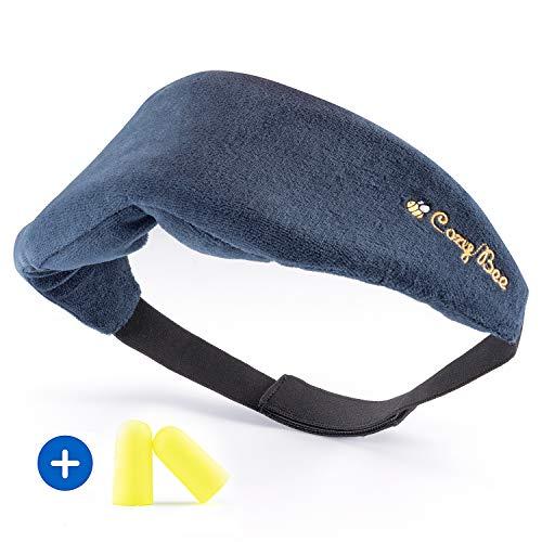 Cozy Bee Reise Schlafmaske - Bequeme Memory-Schaum-Foam Augenmaske für erholsamen Schlaf - Waschbare Schlafbrille für Damen und Herren - 100{259faaa1a49b66d847c2ac8cce27c65595eca2865b86980e0d2ee8593b0ad0d8} Blickdicht - Blau