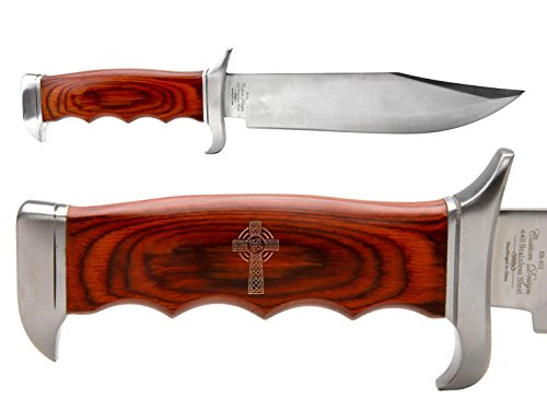 NDZ Performance Elk Ridge Outdoor Hunting Fixed Blade Full Tang Bowie Knife Celtic Cross