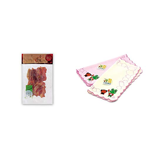 [2点セット] 薫製達人 豚バラベーコン燻製(60g)[飛騨山椒付き]・下呂温泉限定 さるぼぼ&げろぐるくん ふわふわタオルハンカチ【ピンク】