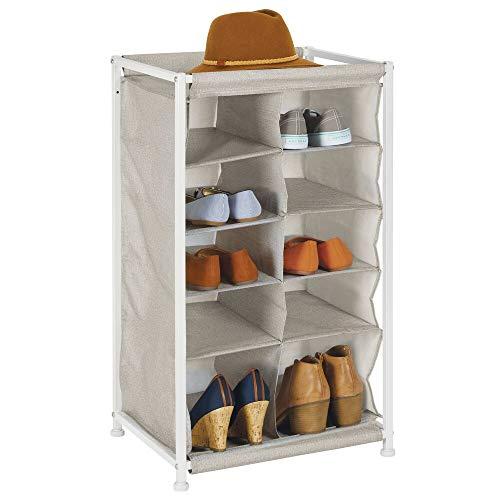 mDesign skoställ för hall och garderob – skohylla med 10 fack för skoförvaring – skohållare i tyg med metallram – beige