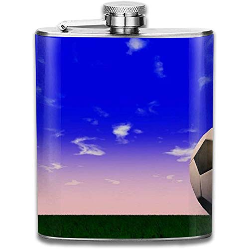 Big Football Retro tragbare Edelstahl auslaufsicher 7OZ Pot Hip Flask Reise Camping Flagon