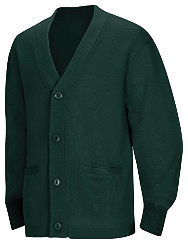 Classroom School Uniforms Men's Big and Tall Plus Size Adult Unisex Cardigan Sweater 2xl-3xl, Hunter, 3XL