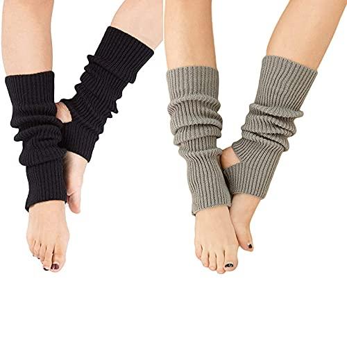 YUANQIAN Calentadores de piernas largas extra suaves de invierno para mujer, calentadores de pierna de estribo para yoga, ballet y danza - negro - 43 cm