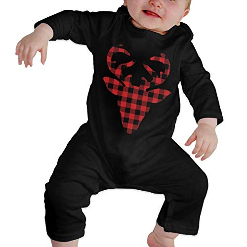 GLGFashion Unisex Plaid Deer Head Newborn Baby 6-24 Months Baby Climbing Clothing Baby Long Sleeve Garment Black Combinaisons Body bébé Barboteuse