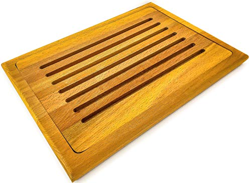 Prosharp Tabla profesional para cortar pan | Madera maciza de haya natural | Bandeja de queso, charcutería | 26 x 36 cm