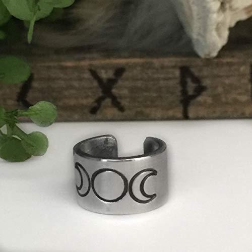 Triple Moon Goddess - Ear Cuff - Fine Silver - Wiccan Jewelry Protection - Wiccan Jewelry Triple Goddess