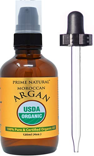 Prime Natural Organic Moroccan Argan Oil Cold Pressed Extra Virgin Unrefined (4oz / 120ml) for Face, Skin, Hair and Nail Care - Natural Moisturizer