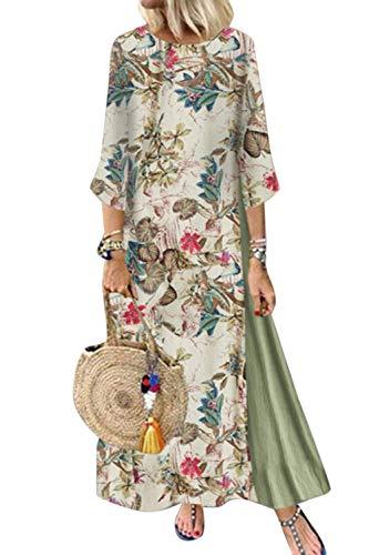 Minetom Vestiti Donna Eleganti Taglie Forti Estivi Abiti Lunghi Sexy Vintage Dress Sera Maxi Abito...