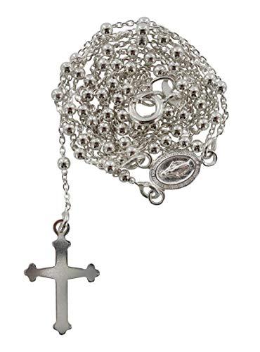Rosario in argento 925 con grani tondi da Ø 1,5 mm sulla catena e con moschettone