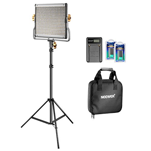 Neewer Bi-color LED 480 Kit de Vídeo Luz y Soporte con Batería y Cargador para Estudio, Vídeo de YouTube, Marco de Metal Durable, Regulable con Soporte-U, 3200-5600K, CRI 96+