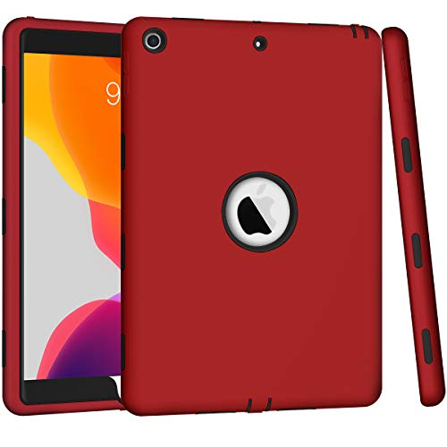 ZHK iPad 8th/7th Generation Case, iPad 10.2 2020/2019 Case, Heavy Duty Shockproof Case High Impact Resistant Rugged Hybrid 3 Layer Full-Body Protective Case Cover for Apple iPad 10.2 inch-Red Black