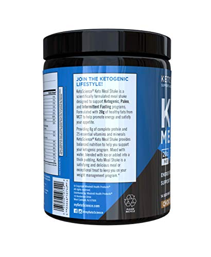 Keto Science Ketogenic Meal Shake Chocolate Dietary Supplement, Rich in MCTs and Protein, Keto and Paleo Friendly, Weight Loss, (14 servings), 20.7 oz Packaging May Vary 5