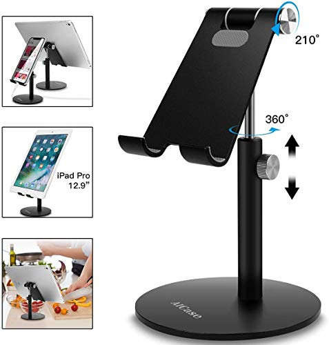LANilianhuqa Tablet/Phone Stand, Universal Adjustable Aluminum Desktop Stand, for New iPad Pro,Air mini,Samsung Tab, Other Smartphones and Tablets (4-12.9 inch) - Black/Sliver Black
