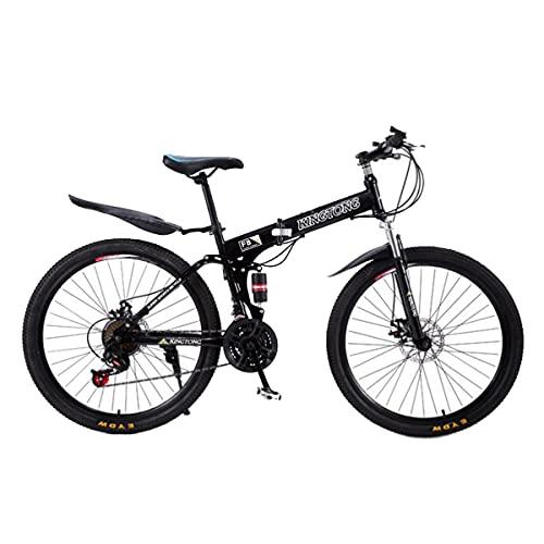 T-Day Mountain Bike Bicicletta MTB Mountain Bike da Uomo E Donna 26 Pollici Ruote da 21 velocità con Forcella Anteriore Assorbente da Shock(Color:Nero)