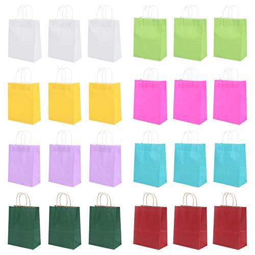 GLAITC Sacchetti di Carta Kraft da 24 Pezzi, Sacchetti di Carta Multicolore con Manici a Torsione Sacchetti Regalo per Feste Sacchetti di Carta Dolci Caramelle per Feste di Compleanno