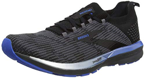 Brooks Mens Ricochet 2 Running Shoe, Black/Grey/Blue, 47.5 EU