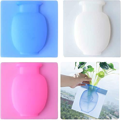 3 Pezzi Vaso in Silicone Appiccicoso, ZoneYan Vaso Magico in Silicone, Vaso Adesivo Silicone, Silicone Vaso Stickers, Vaso per Fiori in Silicone Decorazioni per la Casa Creative, Senza Chiodi
