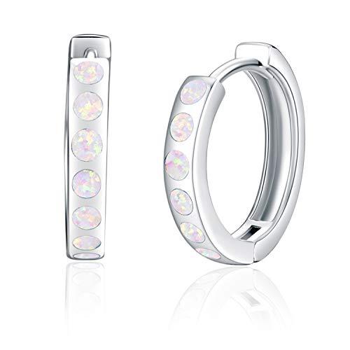 Angel caller Weiß Opal Ohrringe Kleine Creolen Sterling Silber 925 Punkt Dot Ohrringe Damen Opal Schmuck Ohrringe Creolen Geschenk für Damen