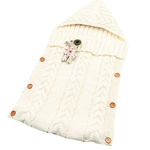 sunnymi Gestrickt Schlafsack Baby,Mit Kapuze Anti-Kick,Isomatte Winter,Babyschlafsack Für 0-12 Monate (73 * 35cm, Weiß)