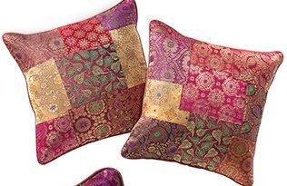 Funda de cojín pequeño Brocado Patchwork Multicolor Cierre de Cremallera Fair Trade 40 x 40 cm