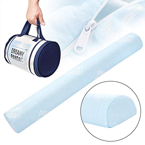 [XL - Bamboo] DreamyPanda Safety Bed Rail Bumper Pillow - Bamboo Cover and Portable Foam Guard for Toddlers, Kids, and Adults - Baby Blue Bamboo