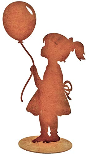 Rostikal Niña con Globo de Aire Figura de Metal de Rost Pátina Figura de Jardín para Accesorios para Casa & Decoración 52 Cm