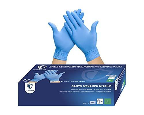 OneProtek - Guantes de nitrilo desechables, 4 cajas de 100 guantes, talla M (mediana), color azul y sin látex, resistentes y multiusos, protección contra los productos químicos
