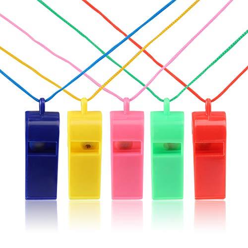 Kesote 20 Silbatos de Plastico de 5 Colores Árbitro Silbato con Correa para el Cuello Entrenador Silba para Entrenamiento del Perro