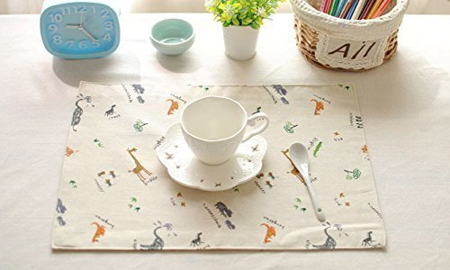Soft Yellow Gray Giraffe Animal Cotton Cloth Napkins Set (set of 6),22