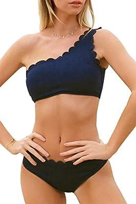 CUPSHE Women's Rain of Petals Solid Wavy Edge One-Shoulder Bikini Set (X-Small (USA 0/2), Navy Blue)