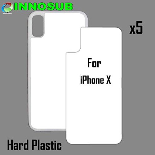 5 x Apple iPhone X-Plastic-White - Blank dye case + Inserts for dye Sublimation Phone Cover/Blank Printable case, Made by INNOSUB USA