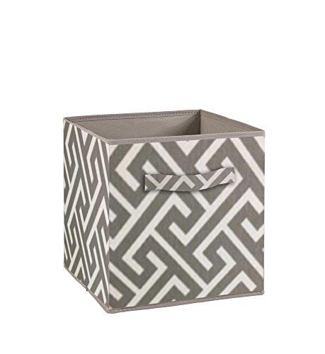 Compo Aufbewahrungsbox, Schublade mit Griff aus Stoff, Motiv Labyrinth, Grau, Weiß, 27 x 27 x 28 cm