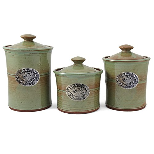 Check Out This Oregon Stoneware Studio Bird 3-piece Canister Set, Pistachio