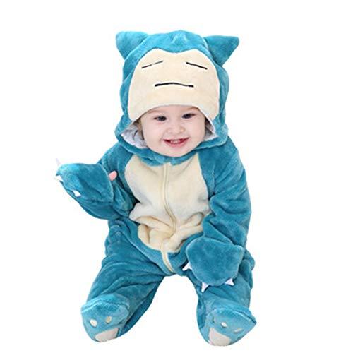 Abimy Mono azul Pokemon Snorlax Bebé Bebé Mono de Forro Polar Pies Mono de Cochecito Bebé Pijamas Niños con Capucha Ropa de Abrigo para Niño