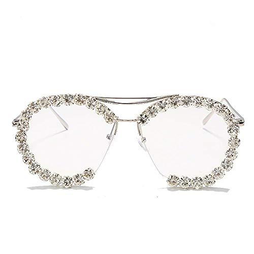 Occhiali da Sole Sunglasses Occhiali da Sole con Diamanti Rotondi Occhiali da Sole da Donna con Strass Occhiali da Sole Ovali retrò Occhiali da Sole da Uomo Uv400 Montature da Vista in Cristallo 1