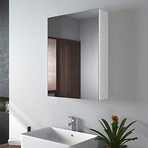 EMKE Spiegelschrank, 50x65cm Badezimmerspiegelschrank Badschrank mit doppelseitigem Spiegel (mattweiß)