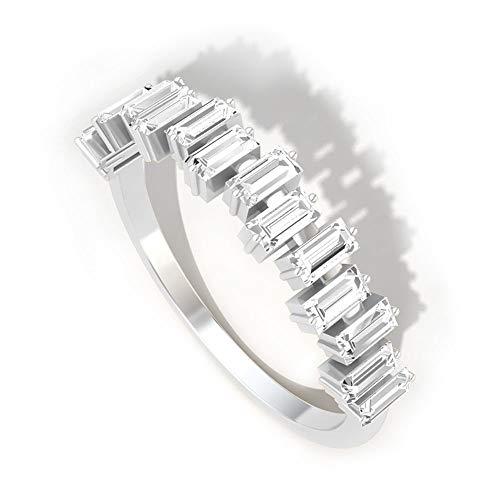Anillo de aniversario de diamante con certificado IGI, de 0,75 quilates, anillo de boda irregular, anillo de eternidad para novia, 14K Oro blanco, Size:EU 44