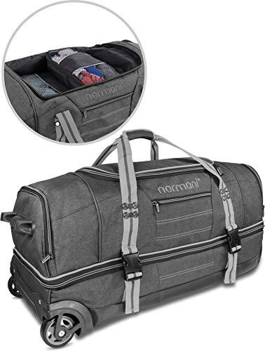 """normani Trolley Reisetasche """"Kompass"""" (90 oder 120 Liter) mit 5 passenden Kleidertaschen/Packtaschen Farbe Grau Größe 120 Liter"""