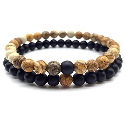CHCO Juego de 2 pulseras para hombre, diseño clásico con cuentas de piedra y brazaletes para hombres y mujeres, joyería de regalo 10