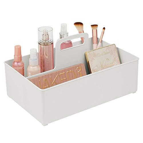 mDesign Kosmetikkorb mit 2 Fächern für das Bad – Aufbewahrungskorb für Kosmetik, Schminke oder...