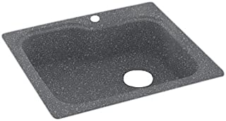 Swanstone KS03322SB.012 Solid Surface 1-Hole Drop in Single-Bowl Kitchen Sink, 33-in L X 22-in H X 10-in H, Night Sky