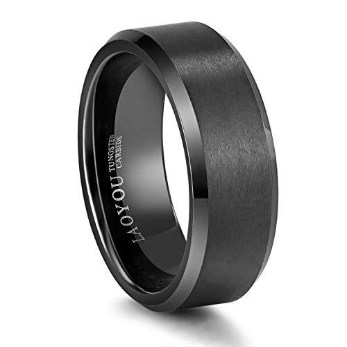 Anillos de tungsteno de 8 mm para hombre, color negro, para compromiso o boda,...
