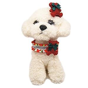 Awhao Collier de Chien Fleur Collier avec Épingle à Cheveux Collier de Série de Noël pour Animal de Compagnie