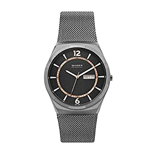 Skagen Melbye Three-Hand Watch with Stainless Steel Mesh Band