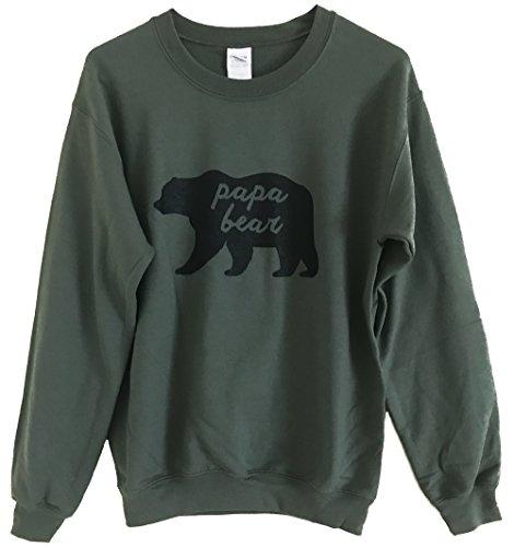 Friendly Oak Men's Papa Bear Fleece Sweatshirt - L - Military Green