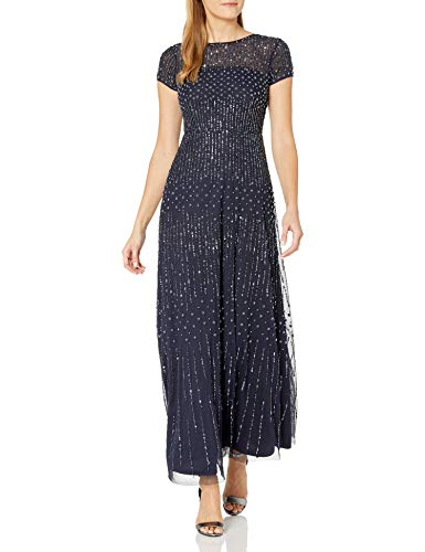 Adrianna Papell Women's Short-Sleeve Fully Beaded Gown, Navy, 4 (Apparel)
