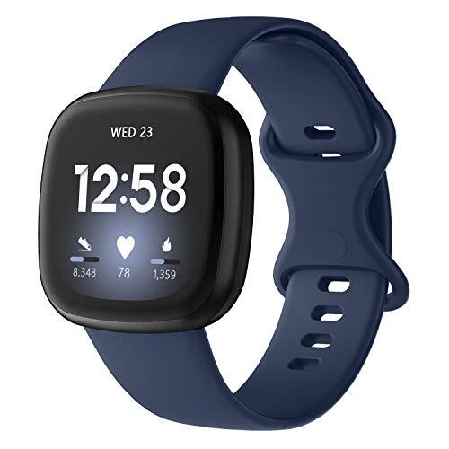 Adepoy für Fitbit Versa 3 Armband/Fitbit Sense Armband, Sport Silikon Ersatzarmband Kompatibel mit Fitbit Versa 3 und Fitbit Sense (Blau, S)